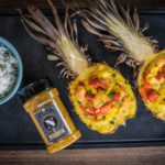 Gefüllte Ananas mit Kikok-Hähnchen - das Ergebnis